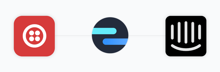Twilio icon connected to Intercom icon via Octopods icon