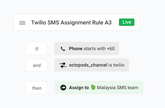 If Phone attribute starts with +60 and octopods_channel attribute is Twilio,                   then Assign to Malaysia SMS Team