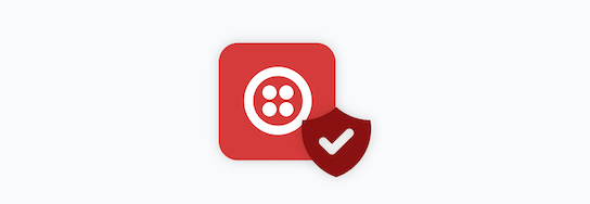 Twilio icon with a security shield